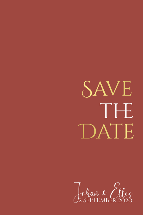 Bruinrode save the date met goudfolie