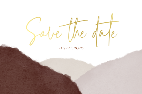 Save the date bordeaux met goudfolie en zandkleur