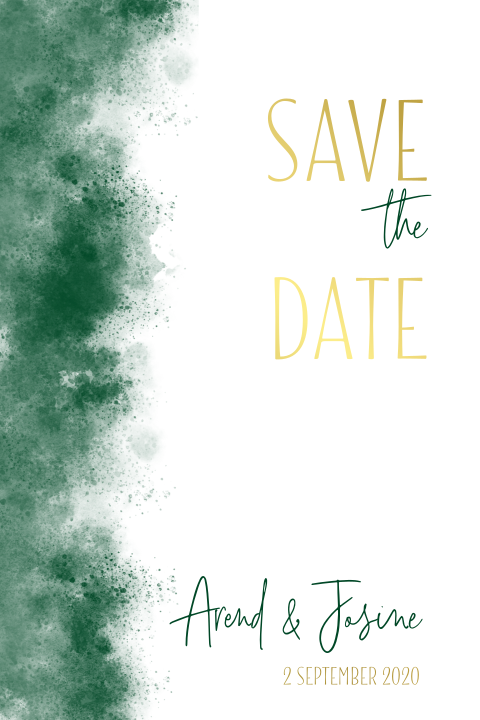 Save the date groen met goud