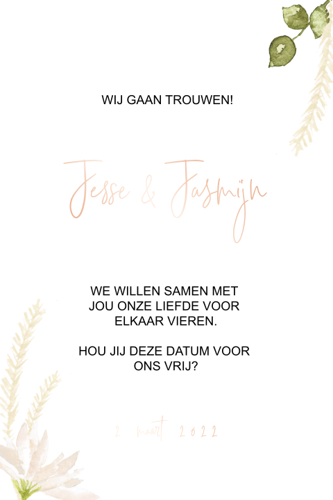 Save the date met rosegoudfolie en bloemen