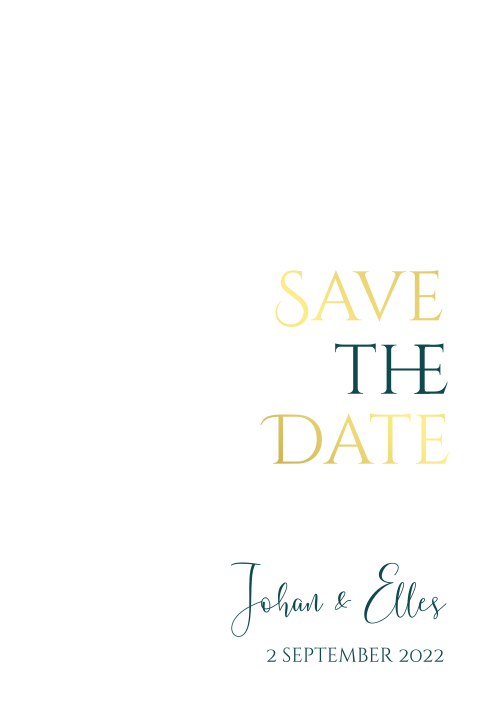 Oudroze save the date met goudfolie