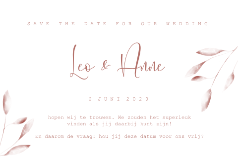 Save the date oudroze rood met goudfolie